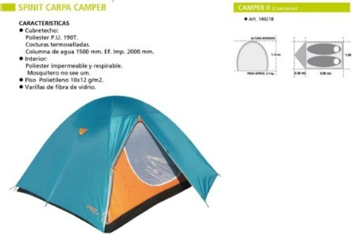 Carpa Iglu 2 Personas Spinit Camper -garantia- Local Palermo 3